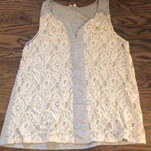 Lace and cotton tank